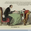 Wellcome Library, London  A mesmeric physician taking advantage of his female patient. Colour lithograph, 1852.