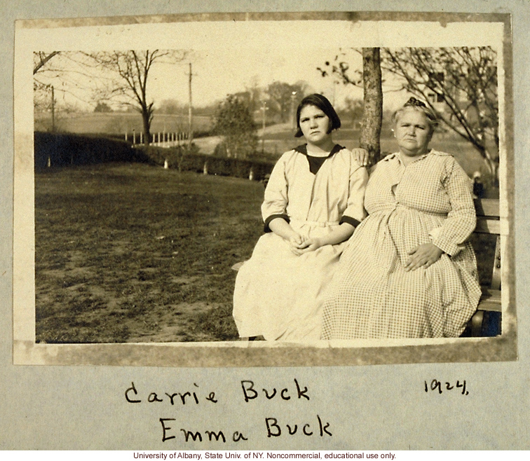 "Source: The Eugenics Archive, ""Carrie and Emma Buck at the Virginia Colony for Epileptics and Feebleminded, taken by A.H. Estabrook the day before the Buck v. Bell trial in Virginia,"" (1924) which legalized compulsory sterilization. The law still stands today."