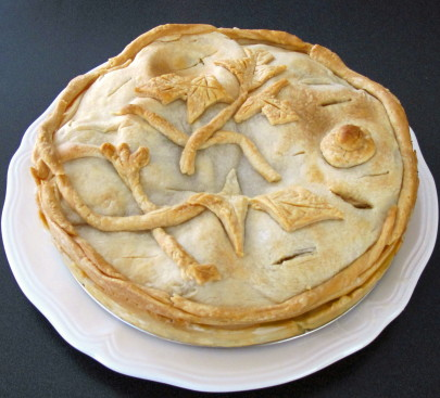 A pie cooked using an 18th-century recipe found through Colonial Williamsburg' Historic Foodways project.