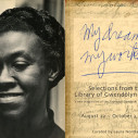 """Portrait of Gwendolyn Brooks, smiling, next to the words """"My Dreams, My Works,"""" in blue handwriting."""
