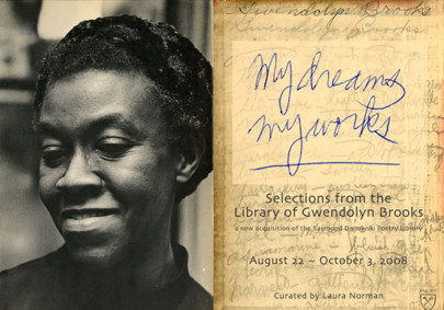 "Portrait of Gwendolyn Brooks, smiling, next to the words ""My Dreams, My Works,"" in blue handwriting."