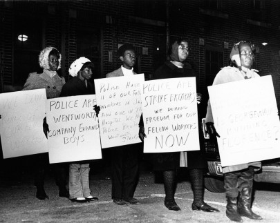 """African American workers picket with placards announcing their strike against the Wentworth Manufacturing Company and decrying police behavior and arrests of co-workers, 1968."" (Kheel Center, Cornell University/Flickr CC BY)"