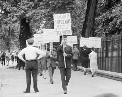 Men and women picketed the White House during a protest organized by the Mattachine Society of Washington on May 29, 1965 to call out the government's unjust firing of gay and lesbian employees. (Bettman/CORBIS)