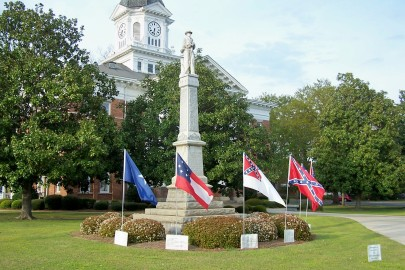 Confederate monument with flags Millen Georgia